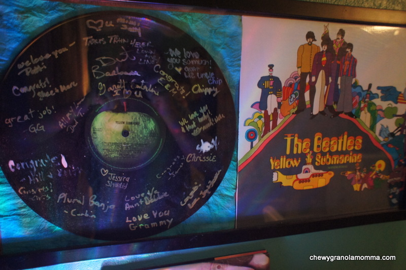 Such a cool part of his room. Everyone at my baby shower signed this record!