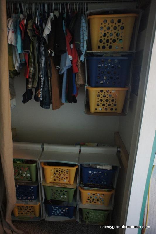 Closet with organization.